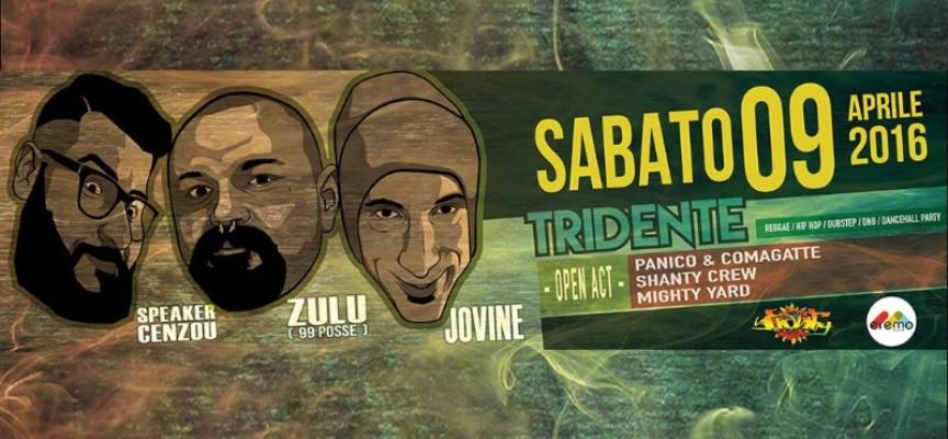 """Il """"Tridente"""" napoletano fa tappa a Molfetta: Zulù (99 Posse), Valerio Jovine e Speaker Cenzou saranno all'Eremo il 9 Aprile 2016"""